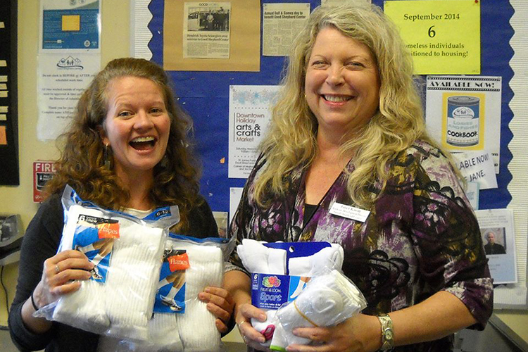 "We say ""Socks"" when we take a picture - and just look at those smiles. Comfort Socks were smiling too, delivering close to 200 pairs of socks of comfort for Good Shepherd Center's homeless guests. It was a very happy day."
