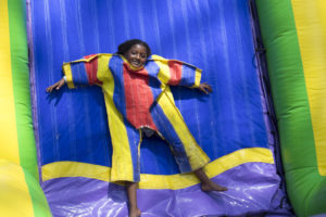 girl on velcro wall